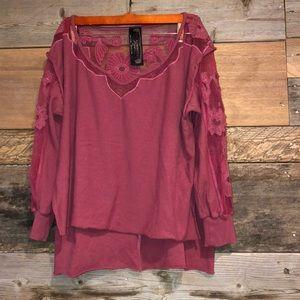 Free People New Romantics Lace Sweatshirt M